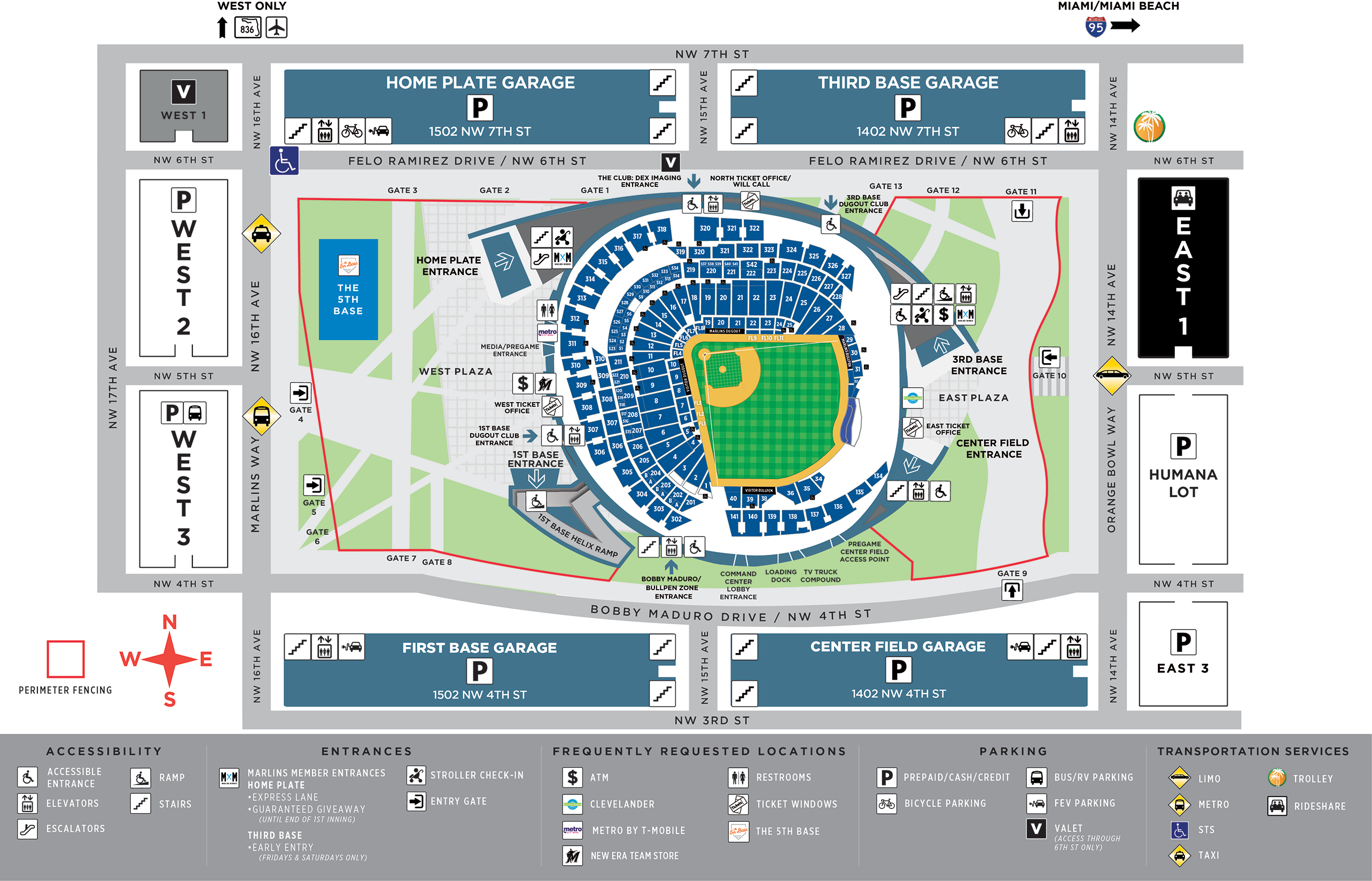 Marlins Parking Map